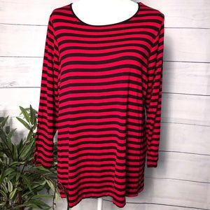 Dress Barn Navy/Red 3/4 Sleeve Tunic - 1X